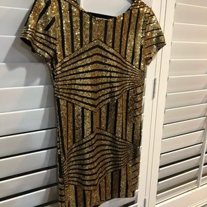 Gold and Black Sequin Party Dress NWT